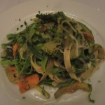 Grilled garden veggies with fettuccine in olive oil and herbs.