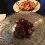 Cherry and chocolate profiteroles