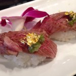 Miyazaki Wagyu beef sushi with gold topping - a special treat!