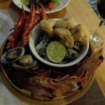 Seafood plate - overcooked... vongole, dried tofu
