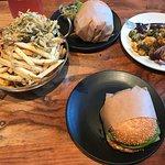 Burger, Fry-Fecta, and Seasonal Vegetable