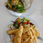 Grilled Snapper n Salad, Whiting, chips n Salad- yummy !