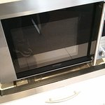 Microwave fallen back from its mounting point