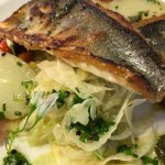 Mouth-watering fillet of seabass with Jersey Royals, fennel salad, tuscan beans & salsa verde!