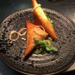 Spiced Sweet Potato & Lentil Samosa.