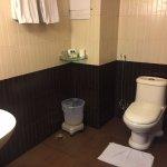 dated amenities in bathroom