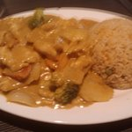 Chicken Curry with Vegetables & Fried Rice. Generous portion, very tasty