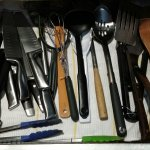 Knives and cooking utensils.