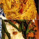 Special fried kueh tiaw & spicy green beans with minced chicken