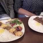 Joojeh Makhsoos (chicken & Lamb Kebab on a bed of rice and Lamb Kebabs