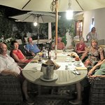 Village residents relaxing together after a wonderful dinner.