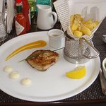 Very stylish presentation, here a fillet of white snapper