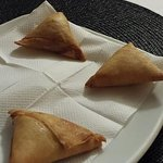 Yesga Sambusa- very tasty! Pastry shell with ground beef and spices