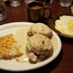 Waffles, country music star omlet, biscuits and gravy
