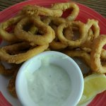 Jalapeno Calamari. Nicely battered, freshly made, served with lemon and ranch.