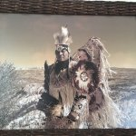 A picture frame showing native american chief.