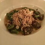 Homemade pasta with fiddlehead ferns and morels. Yum!