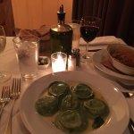 Spinach ravioli and lasagne.