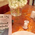 Continental breakfast before my cook to order breakfast. Copper topped tables.