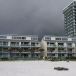 View of our building from the beach.
