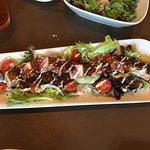 Seared ahi starter, salmon & fish taco entree