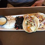 Seared ahi starter, salmon & fish taco entree