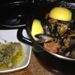 Moules with sausage and Frog legs