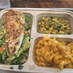 Avocado Basil Chicken Breast, corn tomatillo salad, and delicious macaroni and cheese with Panko
