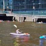 Kayakers in the Milwaukee River.