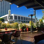 Great patio, good prices, full coffee bar including wine, beer and spirits.