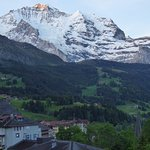 Sunrise on the Jungfrau from our balcony.