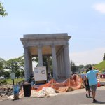 The shrine over the Plymouth Rock, some construction around it.