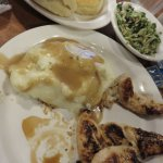 Fabulous chicken tenderloins, mashed potatoes, kale and brussel sprout salad