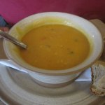 Sweet potato, chilli, and coconut soup