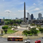 Victory Monument as seen from the BTS Skytrain line.