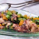 pulpo con calabaza y verduras