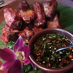 Yunnan flavoured fried pork ribs with dipping sauce (not overly spicy hot)
