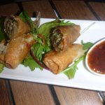 Duck spring rolls in a plum chilli sauce