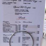 Hotel bar snack menu