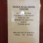 They do not serve breakfast, although sign on back of room door would suggest they do! Damp in b