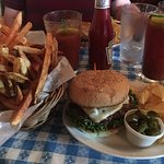 The perfect lunch-a juicy Hugo's hamburger and Bloody Mary!