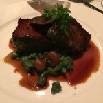 Juniper Crusted Bison with King Trumpet Mushrooms, Cipollini Onions and Wild Nettle Spatzle
