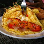 Masala Omelette filled with Tomatoes and Onions
