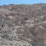 Felswand mit dem Meeresspiegel-Schild , wenn die Sonne blendet , sieht man nichts