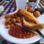 My meal--catfish, beans, fried okra and hushpuppies.