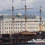 Frigate moored alongside the Neva