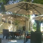 A snapshot of the outside lounge area--plenty of room and shade to sip and savor wine.