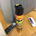 Can of raid left by the reception staff!