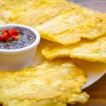 Patacones with house-made bean dip!