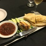 Grilled brie with cranberry chutney and pita wedges and apple slices